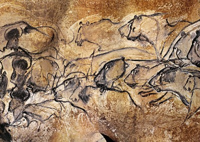 pintura na caverna de Chauvet. P ainel dos leões, 32.000 A.C.