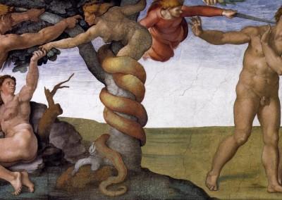 Buonarroti, Michelangelo. Expulsão do paraíso, detalhe, 1508-12.