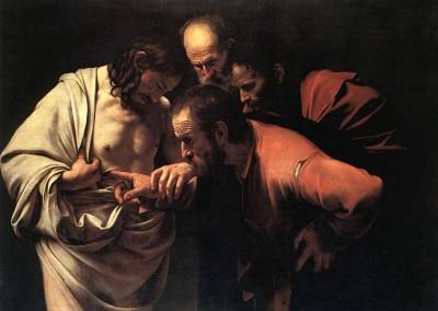 Caravaggio, Michelangelo. Tomé, o incrédulo, 1601-03.
