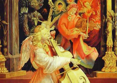 Grünewald, Mathias. Coro de anjos, 1477.