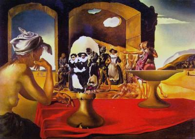 Dali, Salvador. Mercado de escravos com aparição do busto de Voltaire, 1940.