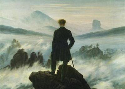 Friedrich, Caspar David. O viajante sobre mar de névoas, 1818.
