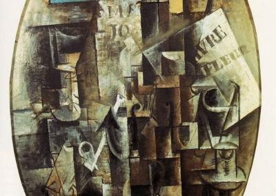 Picasso, Pablo. Violino, copo, cachimbo e tinteiro, 1912.